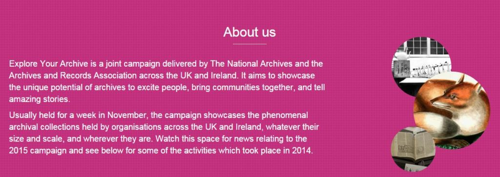 The 'About Us' page of the Explore Your Archive campaign.
