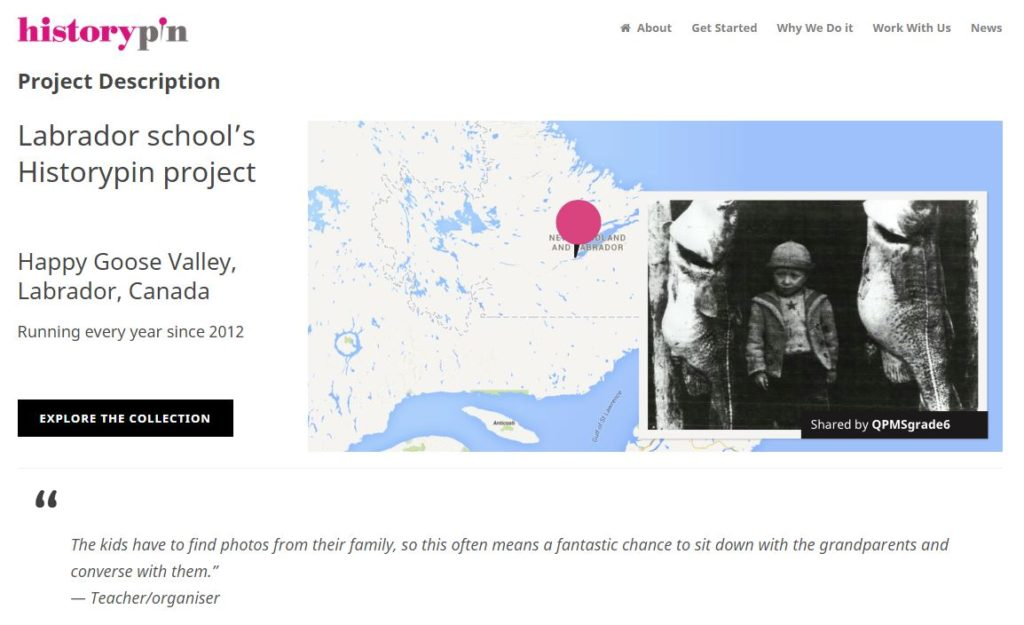 Labrador School's Then and Now HistoryPin Project (screen grab, http://about.historypin.org/inspirations/labrador/)