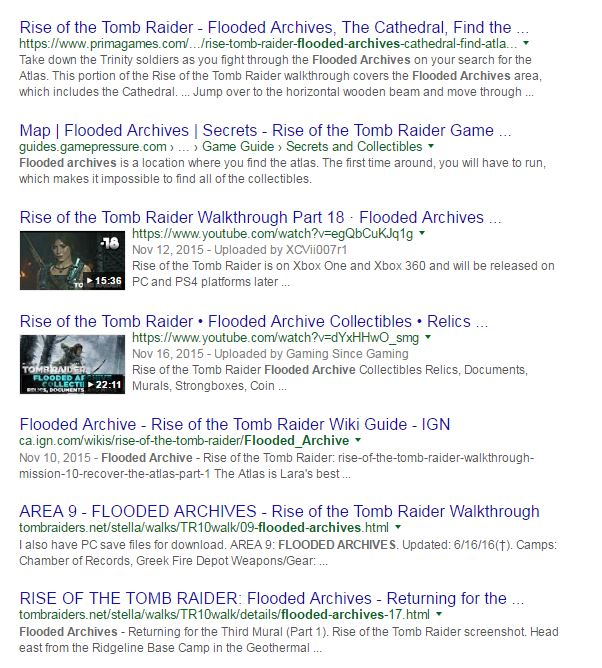 "Google results for ""flooded archives"""