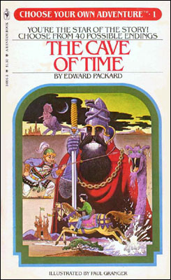 """The Cave of Time"" by Edward Packard was the first book in the ""Choose Your Own Adventure"" series, published by Bantam Books from 1979 to 1998"