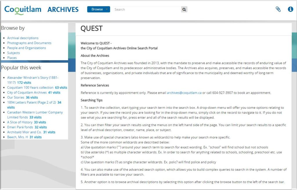 Quest - the City of Coquitlam Archives Online Search Portal