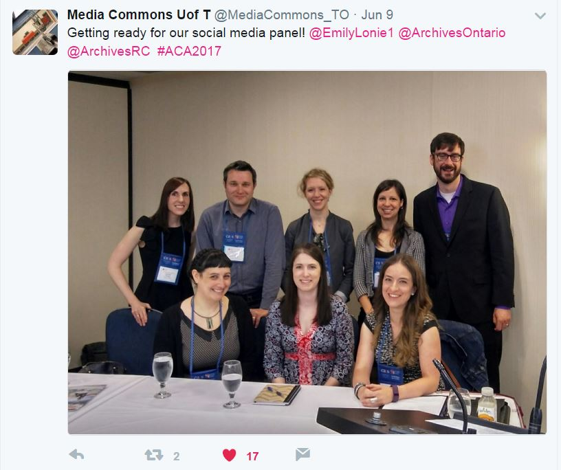 Image of tweet showing a photograph of the participants on the Social Media Pecha Kucha panel