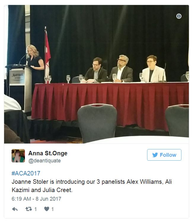 Copy of a tweet showing a photograph of the panel of three filmmakers being introduced by Joanne Stober