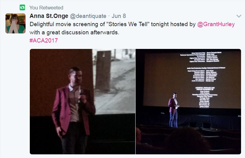 Tweet with photos of Grant Hurley presenting at the movie screening of Stories we tell